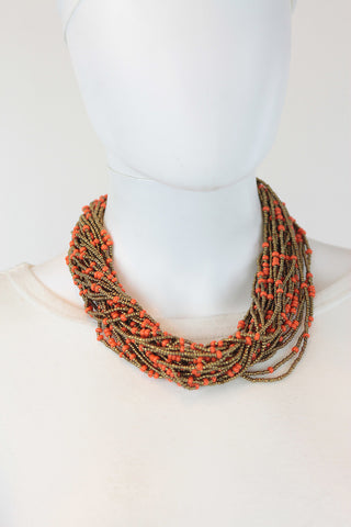 African Maasai Beaded  Necklace-Orange/Gold