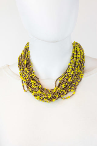 African Maasai Beaded Necklace-Yellow/Gold