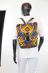 African Print Back Pack-Blue Geometric Print - Africas Closet