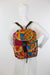 African Print Back Pack-Orange/Maroon Floral Print - Africas Closet