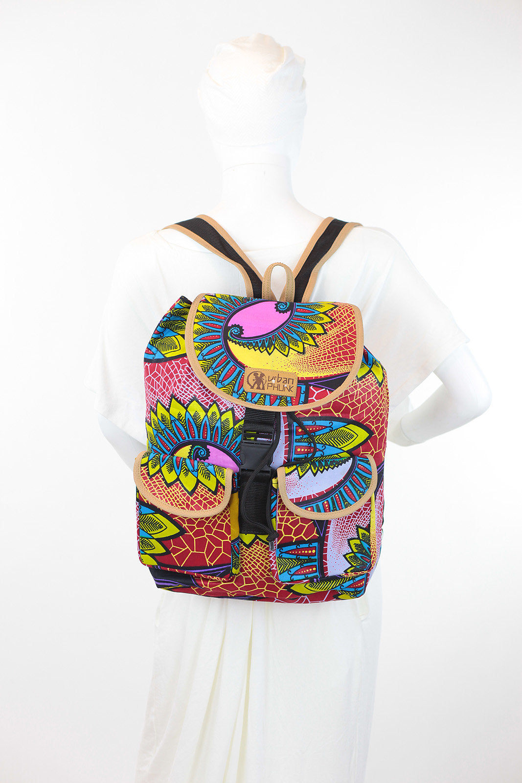 African Print Back Pack-Pink Maroon Floral Print - Africas Closet