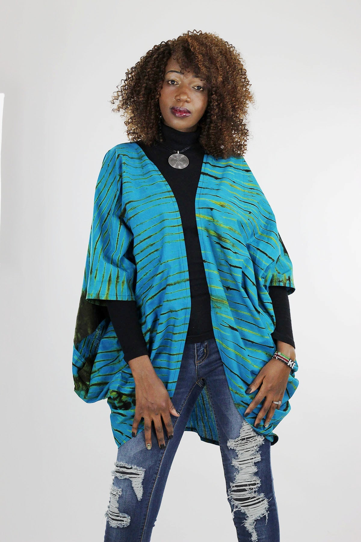 African Batik Boho Cape - Blue/Brown