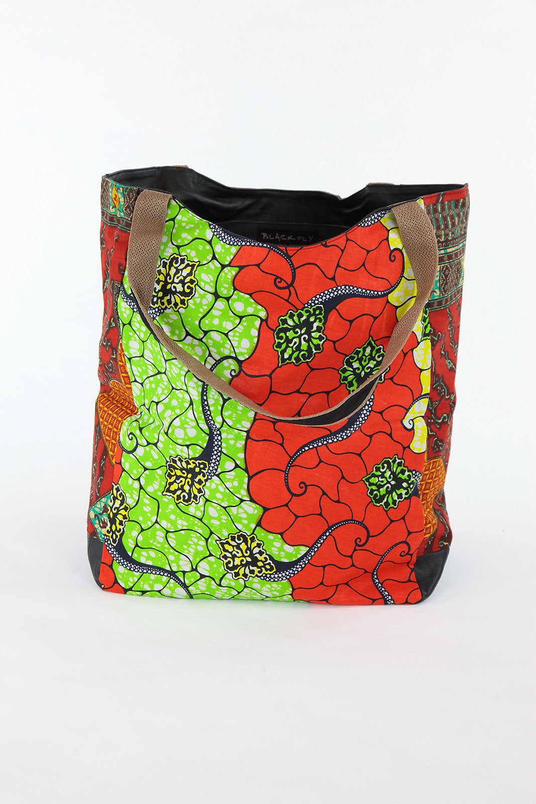 African Print Shopper Bag-Red/Green - Africas Closet