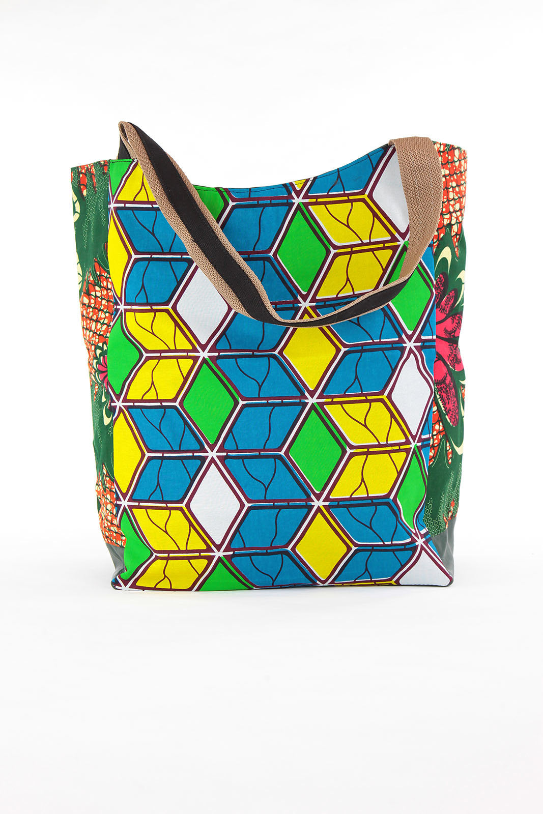 African Print Shopper Bag-Teal/Yellow Geometric Print - Africas Closet
