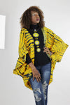 African Batik Boho Cape - Yellow /Green /Tie Dye - Africas Closet