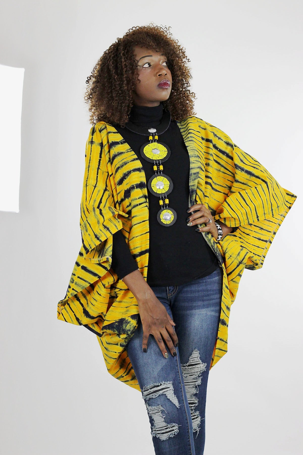 African Batik Boho Cape - Yellow /Green /Tie Dye