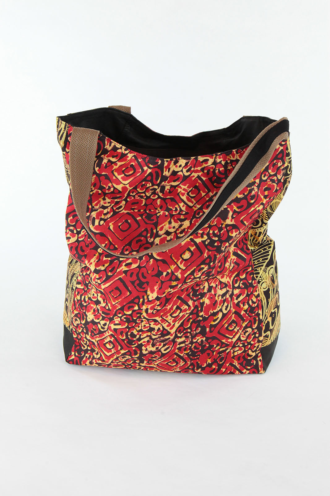 African Print Shopper Bag-Maroon Gold - Africas Closet