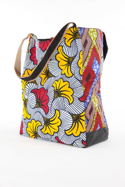 African Print Shopper Bag-White/Red - Africas Closet