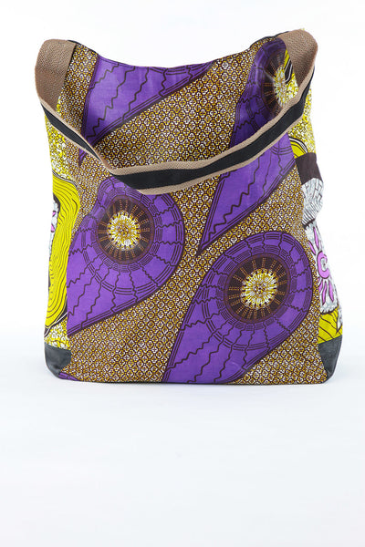 African Print Shopper Bag-Purple/Yellow/Brown Floral Print - Africas Closet