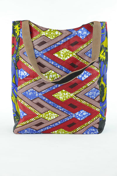 African Print Shopper Bag -Blue /Red Geo/floral Print - Africas Closet