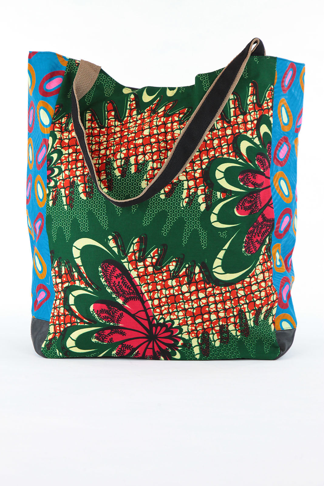 African Print Shopper Bag - Green/Wave/Blue Print - Africas Closet
