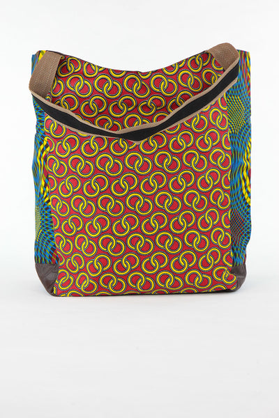 African Print Shopper Bag-Red /Blue Concentric Print - Africas Closet