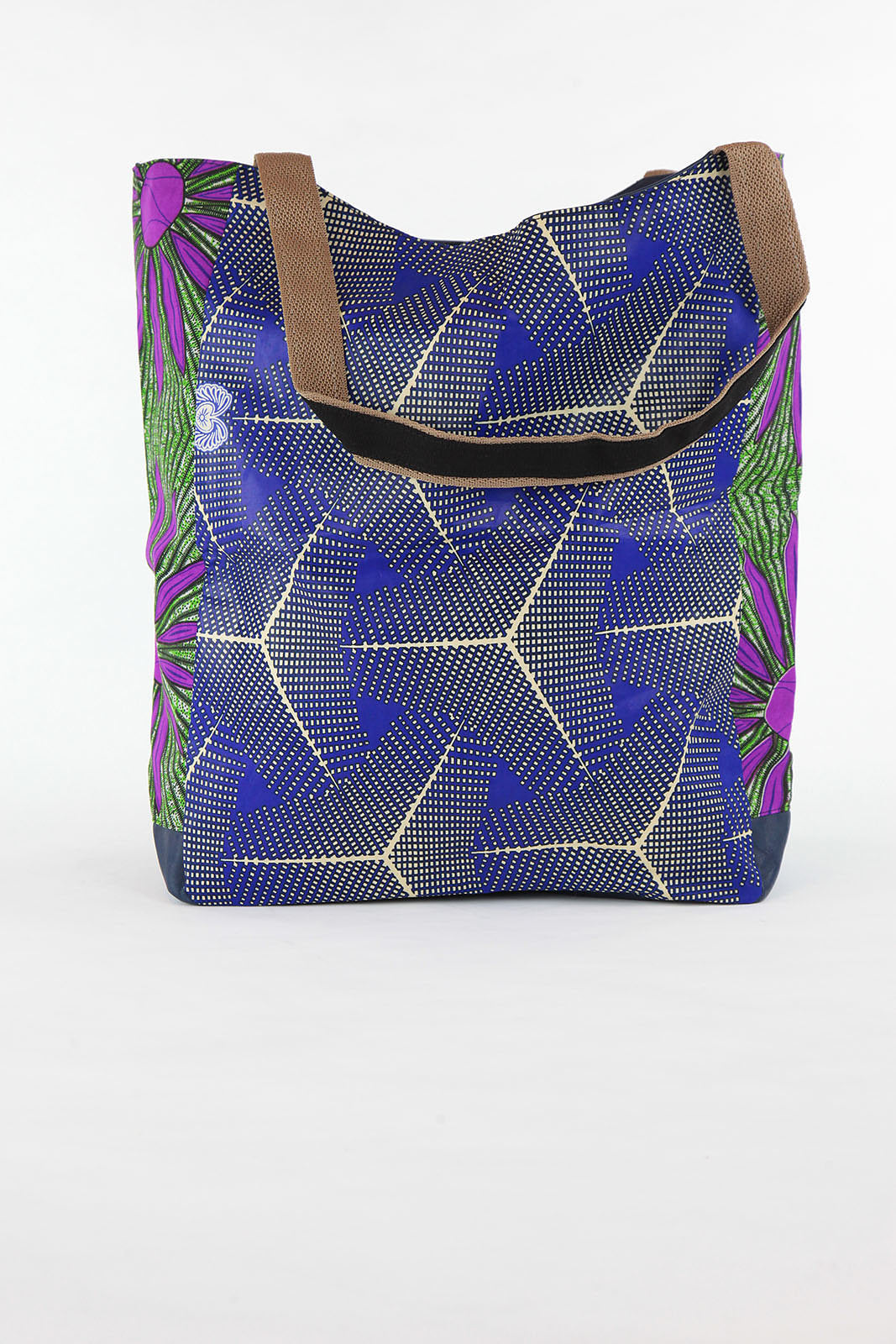 African Print Shopper Bag-Blue/ Purple Geometric Print - Africas Closet
