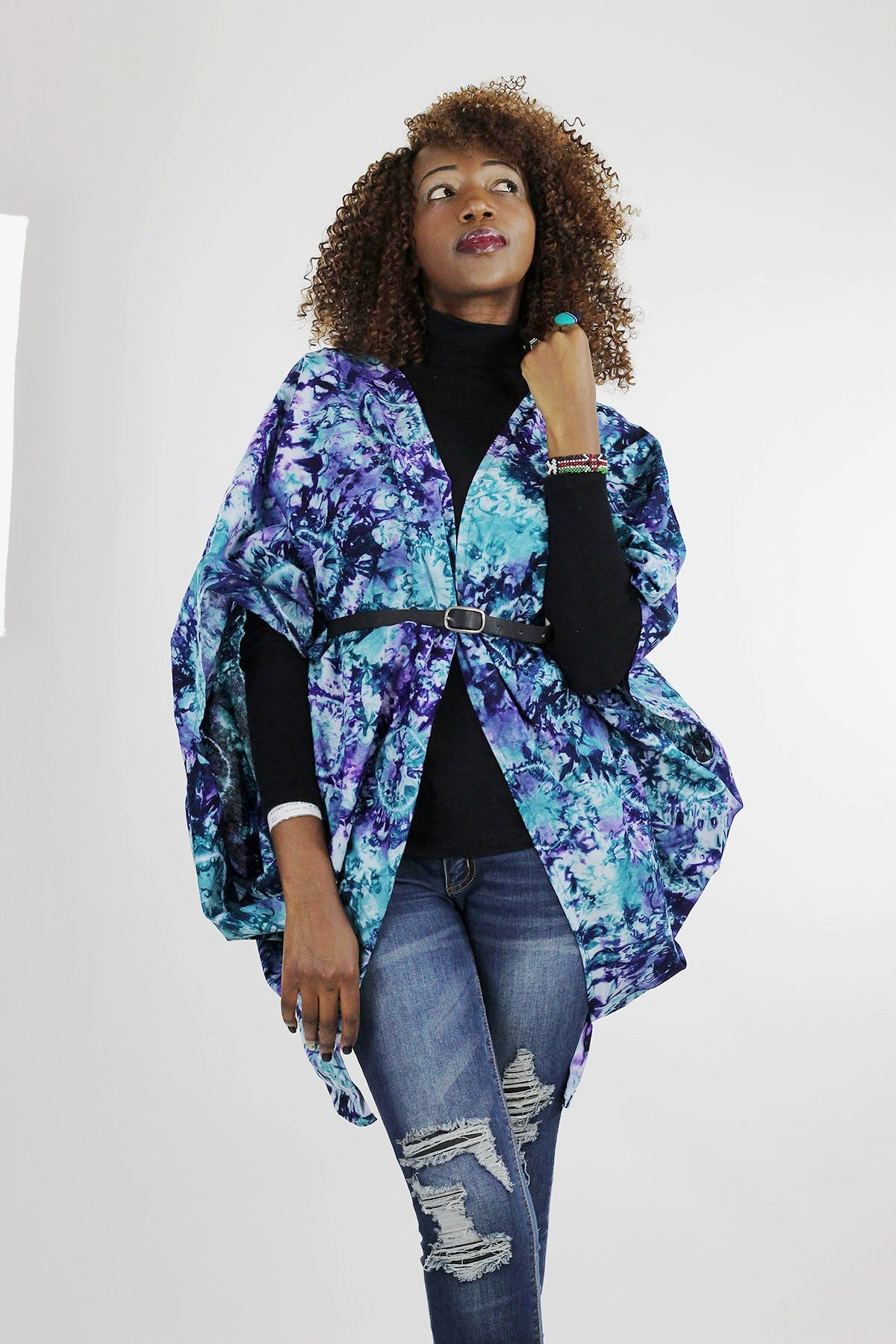 African Batik Boho Cape - Blue/Purple/Tie Dye