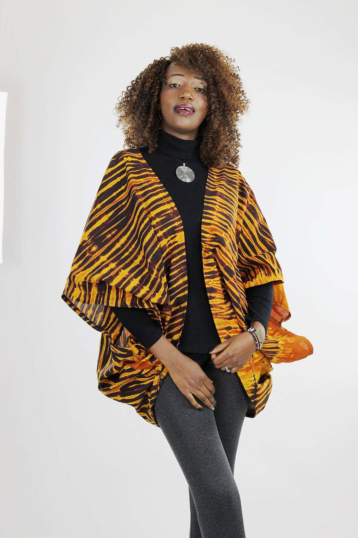 African Batik Boho Cape - Brown/Gold/Tie Dye