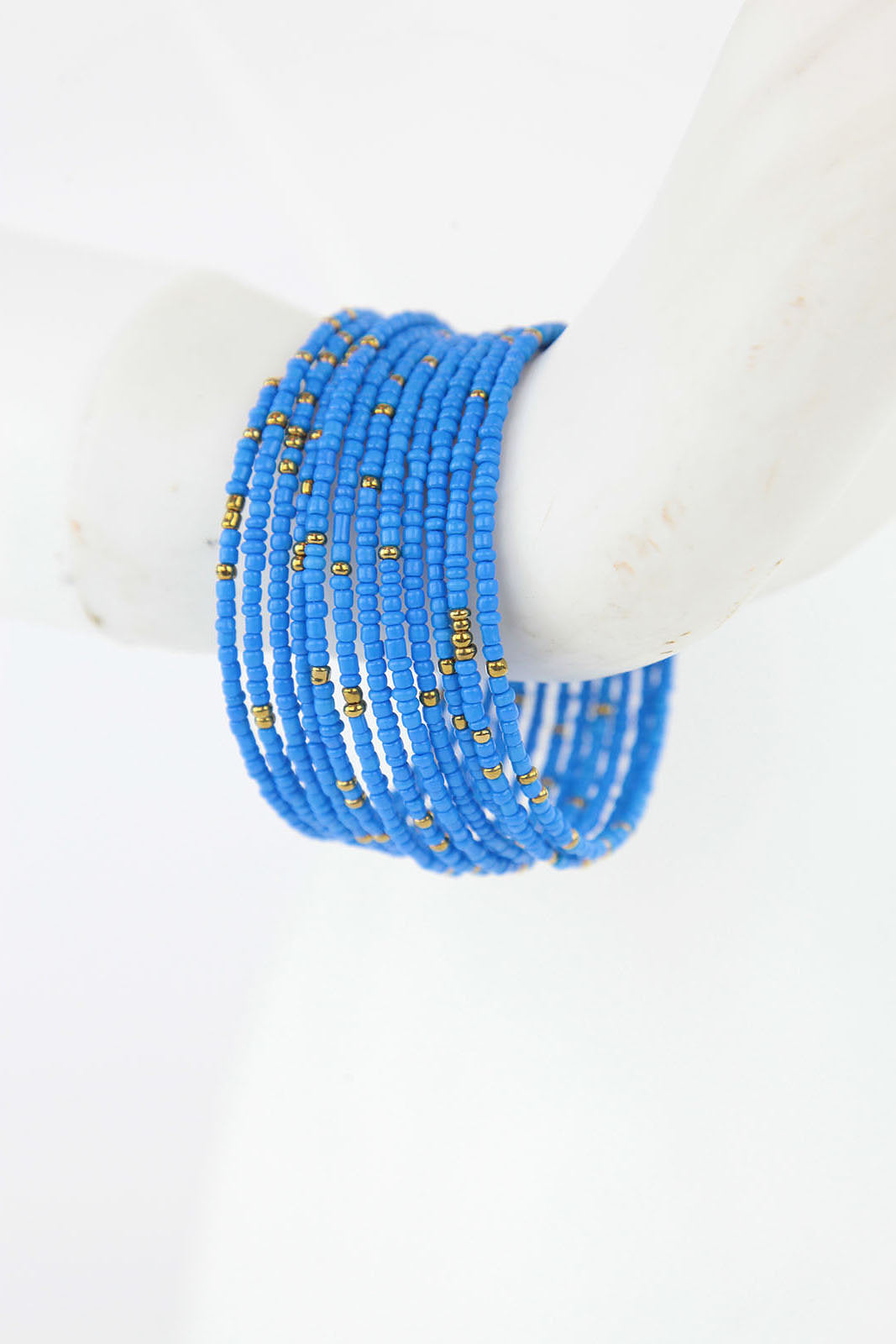 African Maasai Coil Bracelet-Light Blue/Gold - Africas Closet