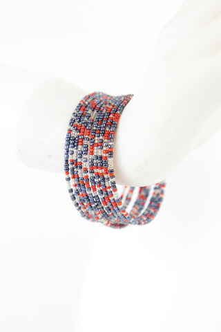 African Maasai Coil Bracelet-Red/Grey