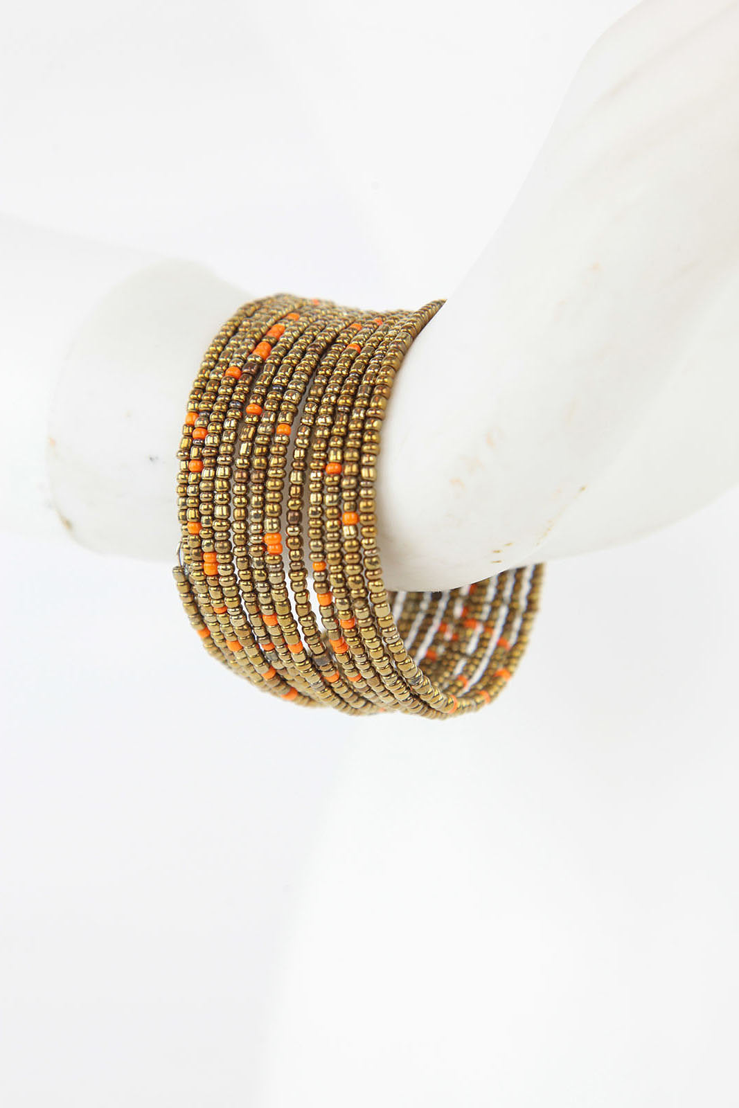 African Maasai Coil Bracelet- Gold/Orange - Africas Closet