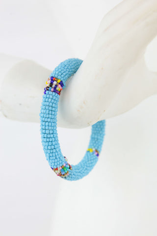 African Maasai Beaded Bracelet - Light Blue