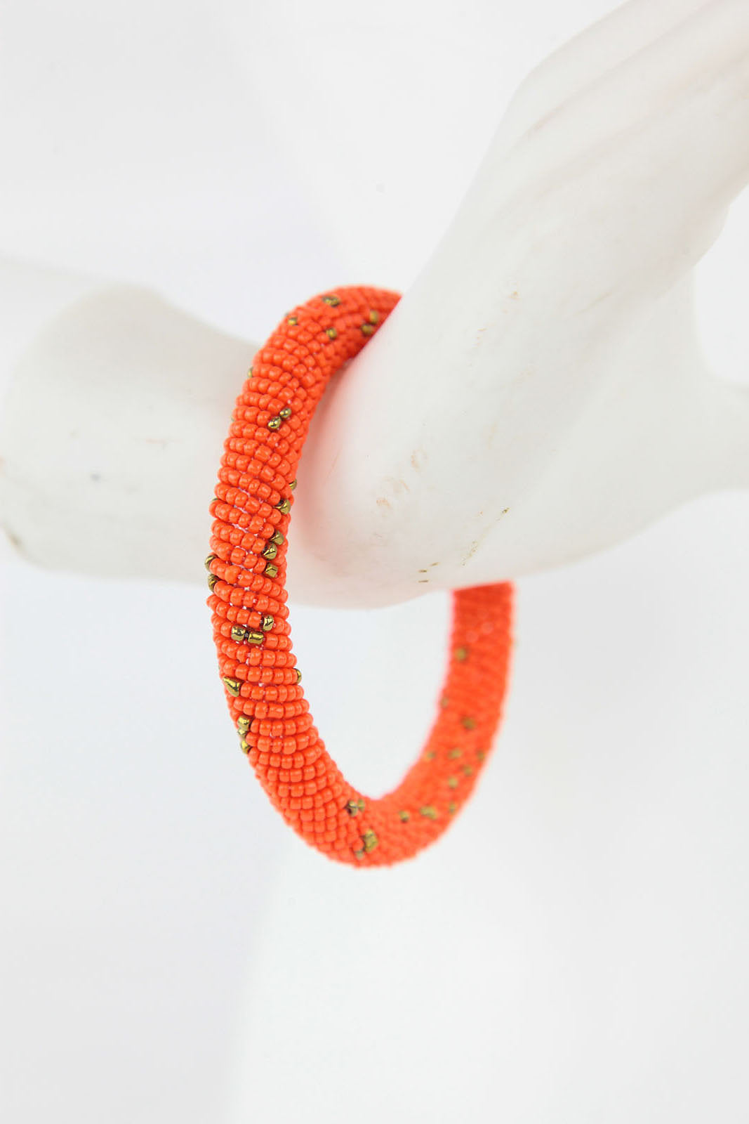African Maasai Beaded  Bracelet-Orange/Gold - Africas Closet