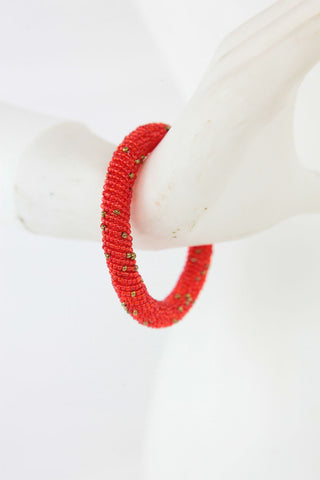 African Maasai Beaded Bracelet-Red/Gold