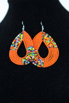 African Maasai(Maa) Bead Hoop Earrings-Orange - Africas Closet