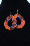 African Maasai(Maa) Bead Hoop Earrings-Orange/Black - Africas Closet