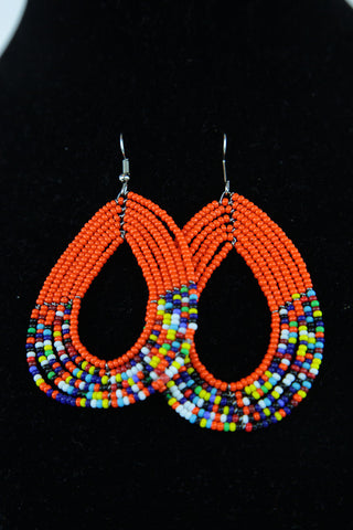African Maasai(Maa) Bead Hoop Earrings-Orange
