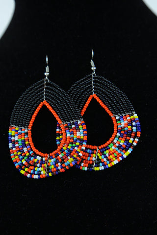 African Maasai(Maa) Bead Hoop Earrings-Black/Orange
