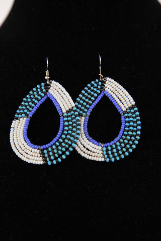African Maasai(Maa) Bead Hoop Earrings-White/Light Blue