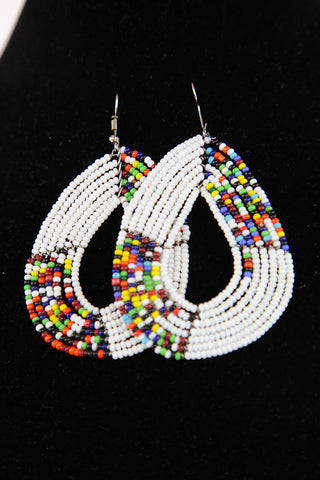 African Maasai(Maa) Bead Hoop Earrings-White