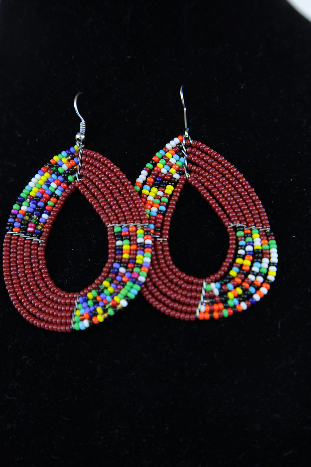 African Maasai(Maa) Bead Hoop Earrings-Maroon - Africas Closet
