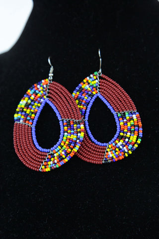 African Maasai(Maa) Bead Hoop Earrings-Maroon