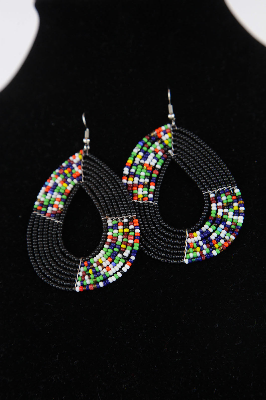 African Maasai(Maa) Bead Hoop Earrings-Black - Africas Closet