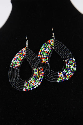 African Maasai(Maa) Bead Hoop Earrings-Black
