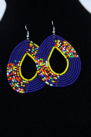 African Maasai(Maa) Bead Hoop Earrings-Royal Blue /Yellow