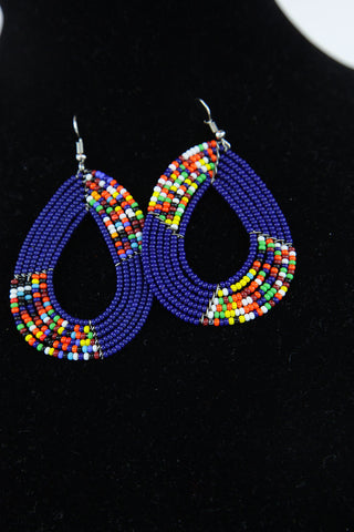 African Maasai(Maa) Bead Hoop Earrings-Royal Blue
