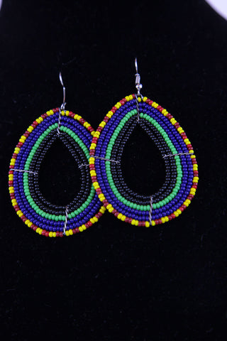African Maasai(Maa) Bead Hoop Earrings-Royal Blue/Teal