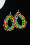 African Maasai(Maa) Bead Hoop Earrings-Green/Red - Africas Closet