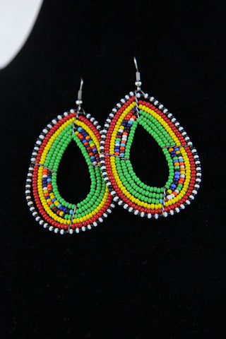 African Maasai(Maa) Bead Hoop Earrings-Green/Red