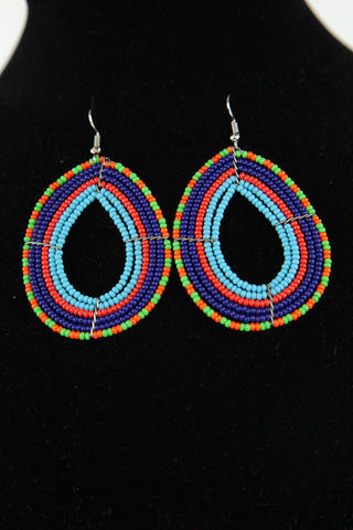 African Maasai(Maa) Bead Hoop Earrings-Light Blue/Red