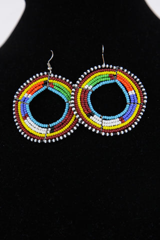 African Maasai(Maa) Bead Hoop Earrings-Maroon/White/Orange