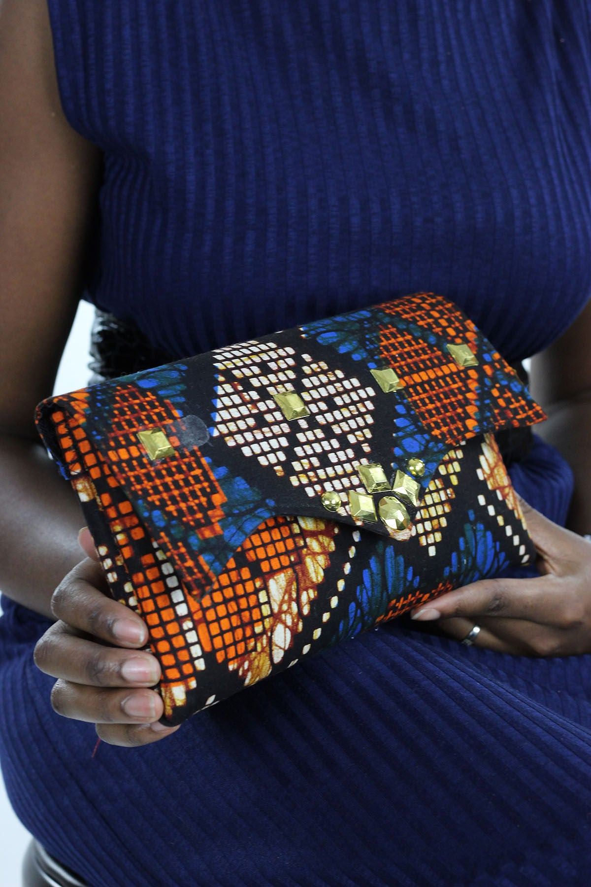 African Print Clutch  Gold BlingPurse- Blue/Orange Floral Print