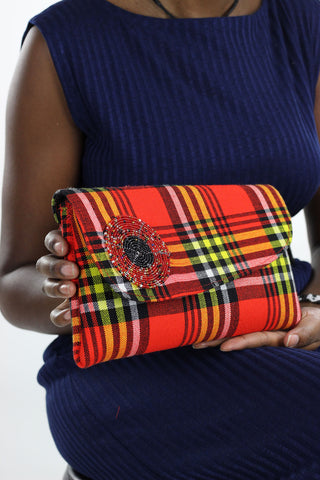 African Maasai Plaid Clutch Purse- Red/Yellow Floral Print