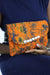 African Print Clutch Bling Purse- Orange/Batik Print