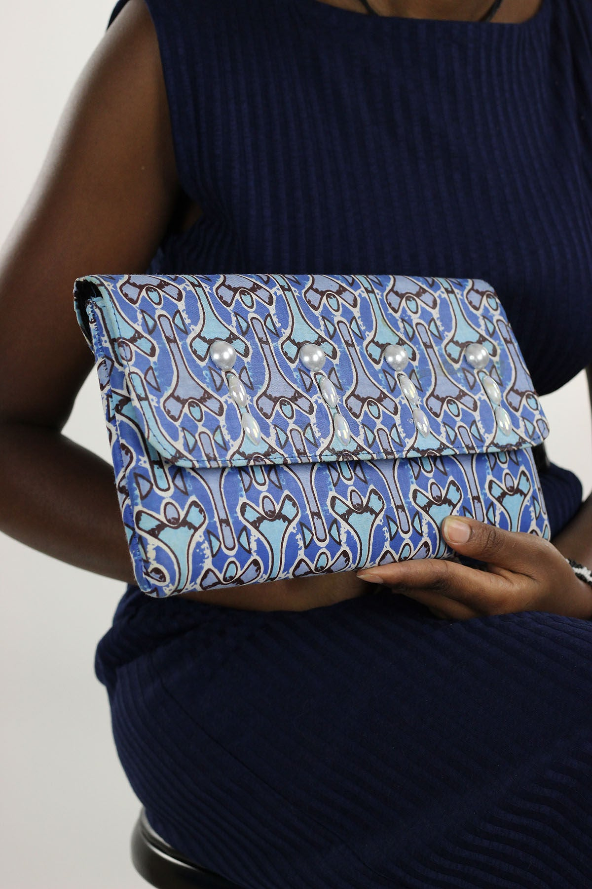 African Print Clutch Pearl  Purse- Blue/White Floral Print - Africas Closet