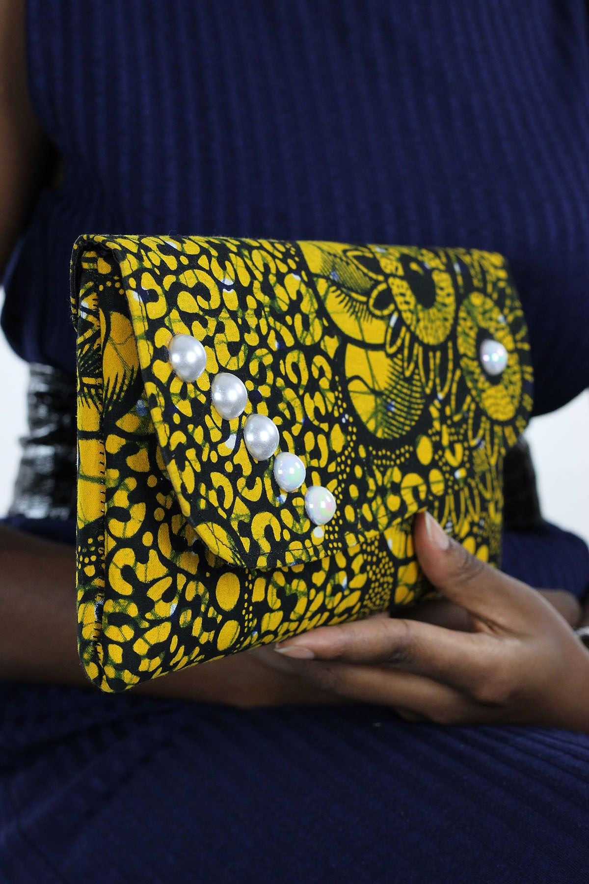 African Print Clutch Pearl Purse- Yellow/Black Floral Print - Africas Closet