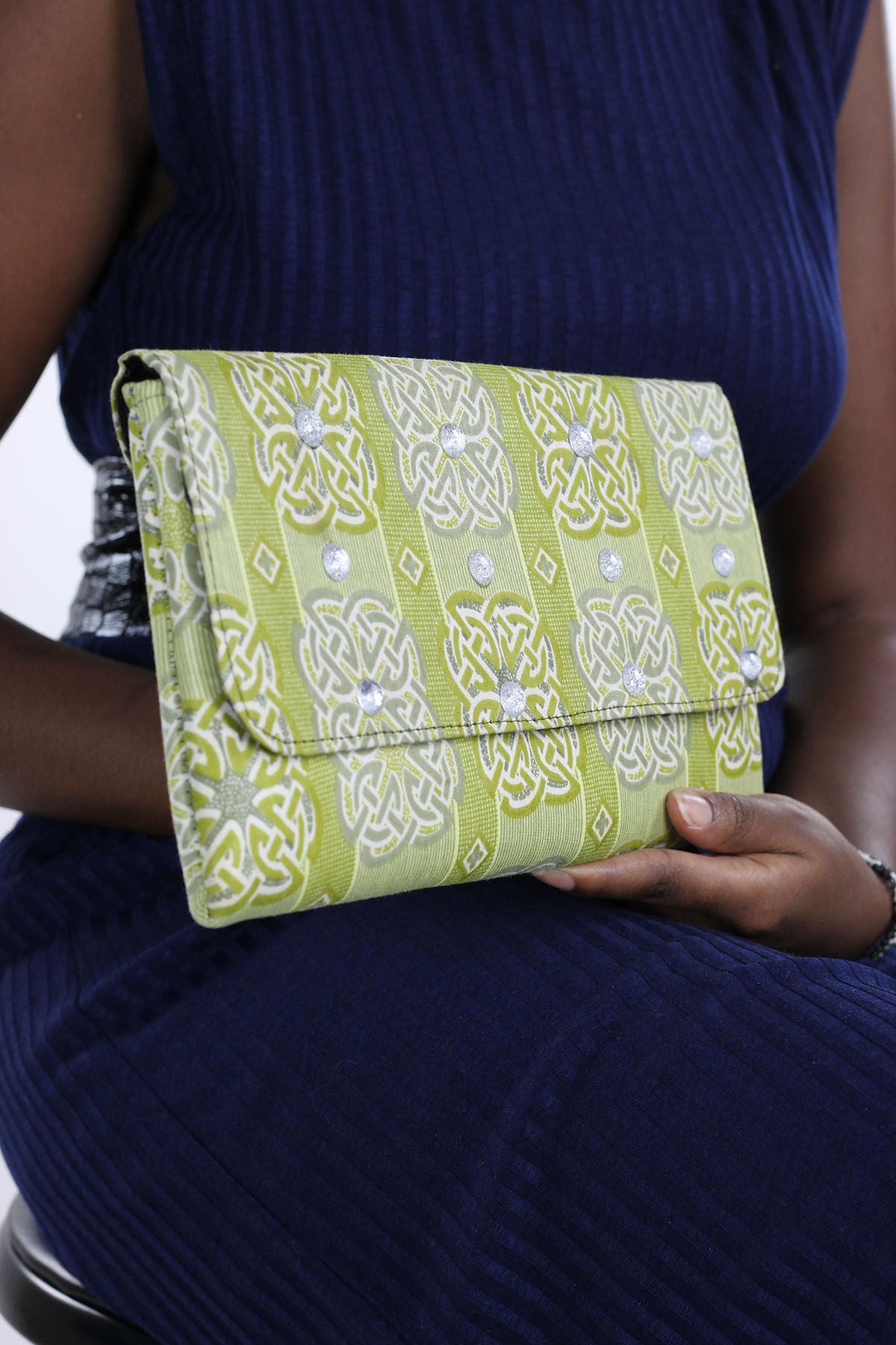 African Print Clutch Bling  Purse- Light Green/White  Floral Print