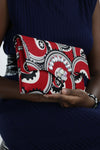 African Print Clutch Bling Purse- Red/Black Floral Print - Africas Closet