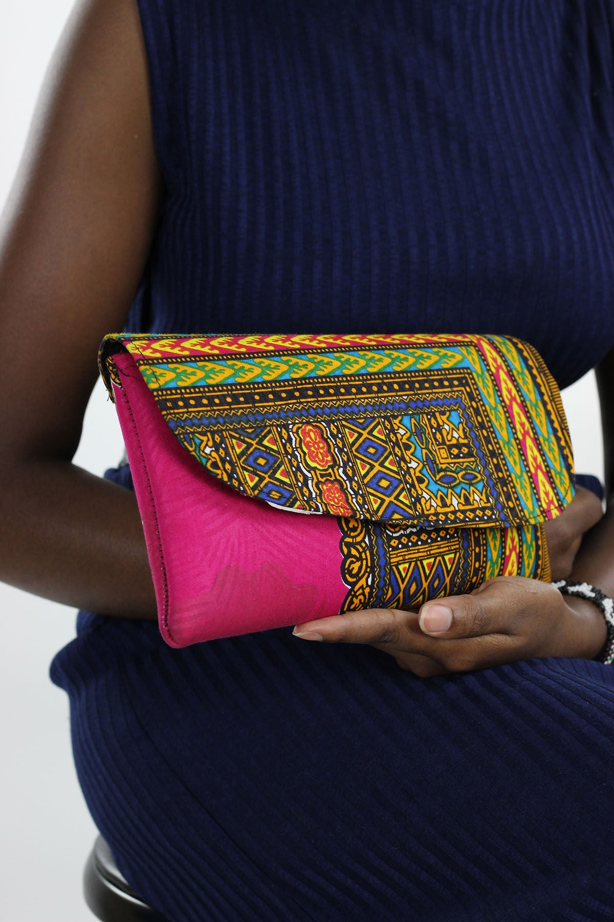 African  Dashiki Print Clutch Purse- Pink/Yellow Floral Print